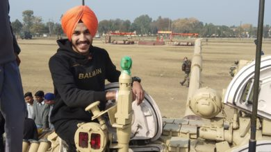 Military equipment display; students from Patiala showed keen interest in equipment's