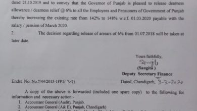Punjab govt order the release of 6% DA installment