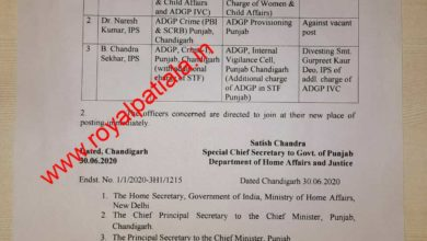 IPS officers transferred in Punjab