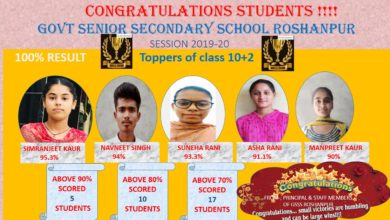 Govt. Senior Secondary School Roshanpur(Patiala) students excel in 10+2 exams